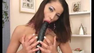 Screen Capture of Video Titled: SOLOGIRLSMANIA Horny Brunette Slut Angel Dark Fucking black Dildo