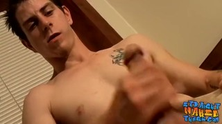 Straight thug Seth G solo jerks off fat cock and cums