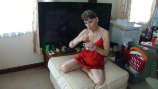 Hot Sexy Coffee Drinking Sexy In RED Lingerie To Excite You...