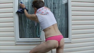 Washing Windows With Sexy Pink Thong And White Sports Bra...Look At Me!