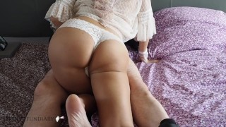 German horny wife seduces her husband and rides his cock hard