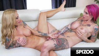 Screen Capture of Video Titled: Busty Tattooed Lesbians Fuck each other Hard - Intimate Lesbians