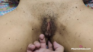 Shaving her hairy Asian pussy close up POV