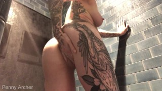 Cumming in the Shower at a Busy Gym