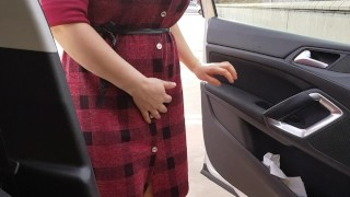 Step mom walks out from the car having an vibrator egg hidden inside pussy