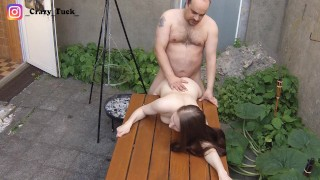 Fat old bastard uses 18 year old girl on the terrace to fuck