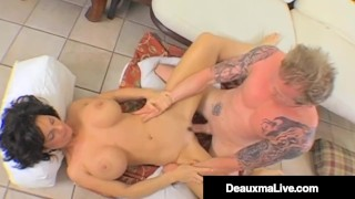Busty Milf Deauxma Gives Angie Noir RimJob & Pussy Fucking!