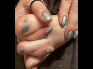 Babygirl massages her feet for Daddy and wants his cum