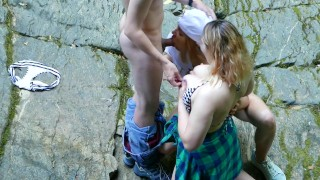 Spying on Strangers Threesome Outdoors