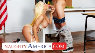 Screen Capture of Video Titled: Naughty America- Nikki Delano gets sperm donated by student