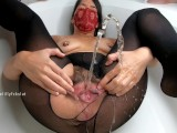 Self piss and pussy fuck with RealCock2 Dildo