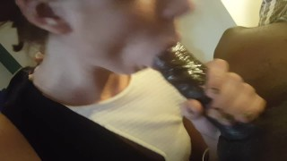Neighbor's Obedient Wife Gently Laps Up Cum After Servicing Black Dick