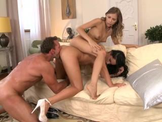 Racy Bettina DiCapri sucks cock during anal threesome with Avril Sun