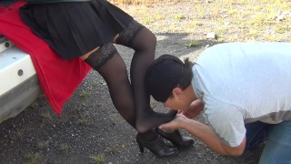 SLAVE LICK BLACK SHOES AND SNIFF FEET SHOES KISS FEET PANTYHOSE FEMDOME