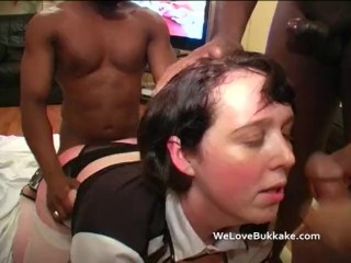 Big black cocks go to work on a British white big assed chick