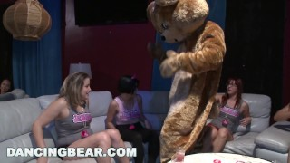 DANCING BEAR - Bachelorette Party Goes Crazy For The Bear!