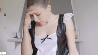 Screen Capture of Video Titled: Talia Mint Maid gets in Trouble  Masturbating