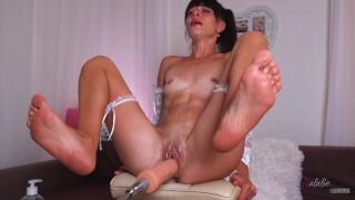 Sex Machine and Hitachi stretch my Cunt,I get Multiple Squirt Orgasm