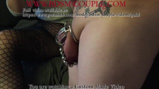 Miss M. puts HOT CHILI PASTE on her slave's LOCKED COCK! (short version)