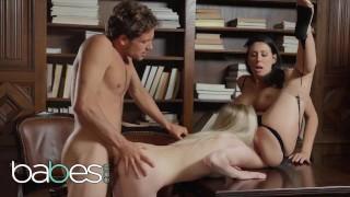 BABES - Milf librarian Reagan Foxx fucks younger couple