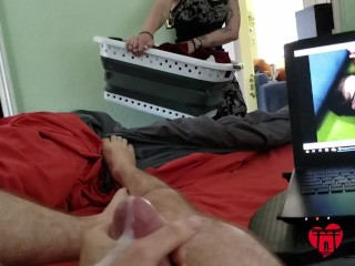 Roommate Doing Laundry Walks In, Watches Me Jerk and Cum