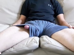 Dry rub through shorts before working out (HUGE CUMSHOT)