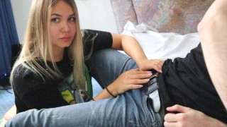 Hot Russian Girl Blowjob and get Cum in Mouth