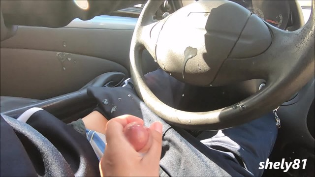 dirty the car with this cumshot, the stepmom is so good at masturbating , Public Dick Flash!