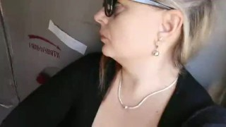 Smoking in train. BBW mommy show naked boobs public
