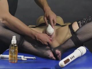 Clit brush edging game-Post orgasm torture