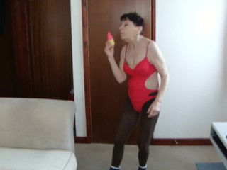 TRY ON HAUL Sucking Ice Cream Red Bikini Swimwear Pantyhose Tights Socks!