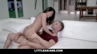 LittleAsians - Pretty Tiny Asian Girl Sucks A BWC Muscle Stud