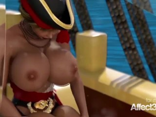 Big tits futanari pirates having sex in a hd animation