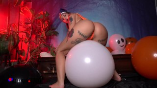 Screen Capture of Video Titled: PAWG Stella Rae Spooky Halloween Balloon Popping - Amateur Boxxx