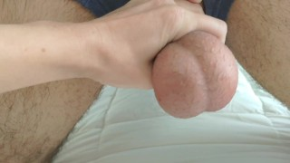 Playing with my husband's balls before emptying them