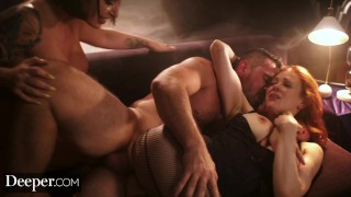 Screen Capture of Video Titled: Deeper. Maitland Ward Passionate Threesome with Ivy Lebelle