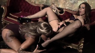 Screen Capture of Video Titled: Paige Turnah & Kerry Louise hot fuck in heels at Babestation