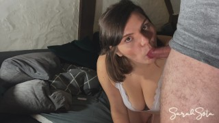 casual sex - quickie on the couch with chubby wife