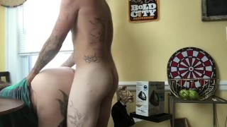 Amateur exhibitionist couple cumshot in front of window during rush hour