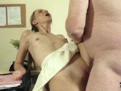 Young blonde gives grandpa the best blowjob and fuck