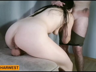 GrandHarwest. Girl Blowjob Cock Boyfriend and Ride dildo