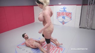 Huge boobs Alura Jenson kicks balls and dominates in nude wrestling match