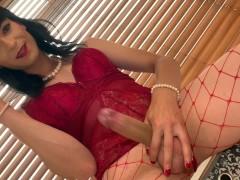 Big Cock Crossdresser Smokes as She Strokes