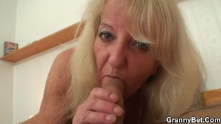70 years old blonde granny and boy fucking