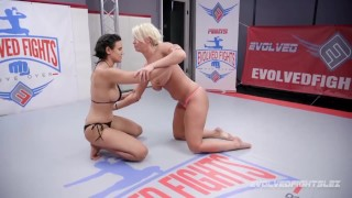 London River wrestling Penny Barber winner fucks loser with a strapon