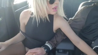 Fucking myself in the car while my stepson drive- Public masturbation