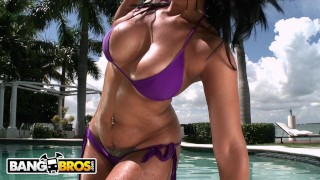 Screen Capture of Video Titled: BANGBROS - Curvy Babe Miss Raquel Taking Anal On A Bright Sunny Day
