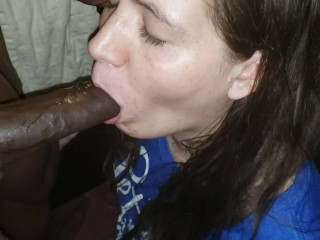 Pregnant Wife Is Fed Black Cum Dripping From Her Chin