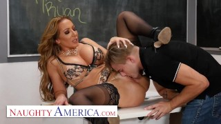 Screen Capture of Video Titled: Naughty America - Richelle Ryan Fucks her college student