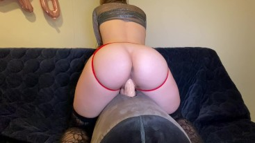 Horny Teen Rides Dildo to Orgasm in Crotchless Panties